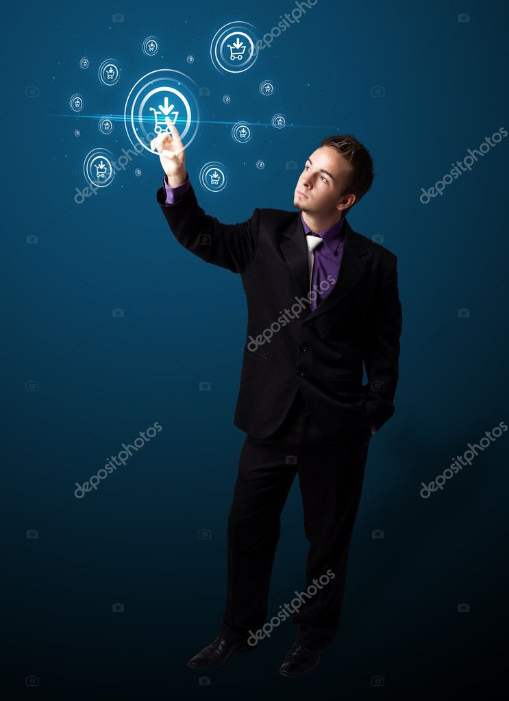 Businessman pressing promotion and shipping type of modern buttons — Stock Photo #6867259