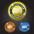 Satisfaction guarantee gold, orange and blue patches — Image vectorielle