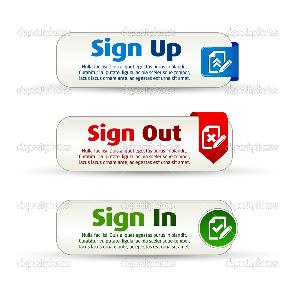 Sign up, out and in colorful banner buttons — Imagen vectorial #7146972