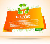 Orange origami eco template with recycle sign — Stock Vector