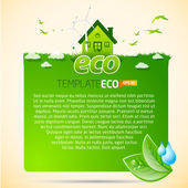 Green eco template with house icon — Stock Vector