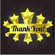 Thank you shiny golden sign with stars — Stock Vector