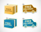 Free shipping and delivery stickers and badges — Stock Vector