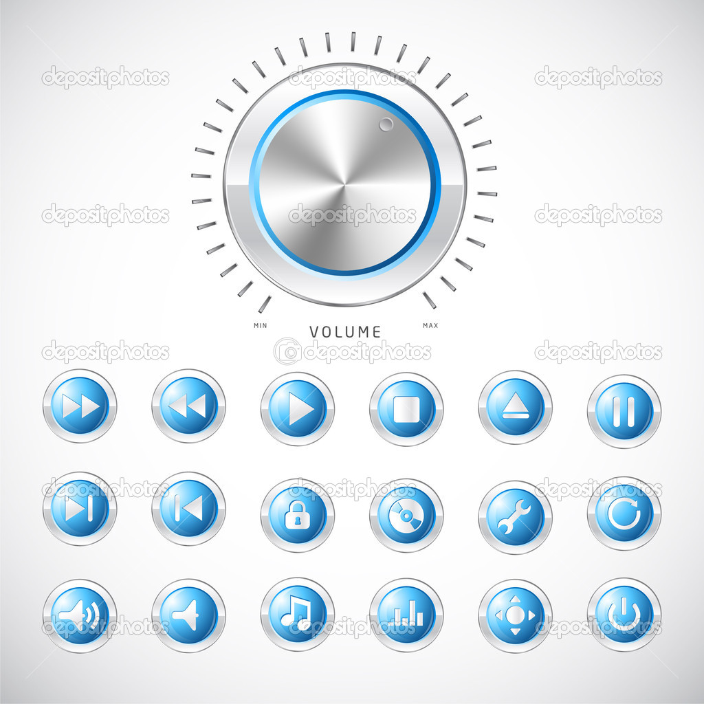 Volume Control Button : Blue modern media button collection with volume control
