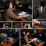 samling av radio dj man på radiostudio — Stockfoto