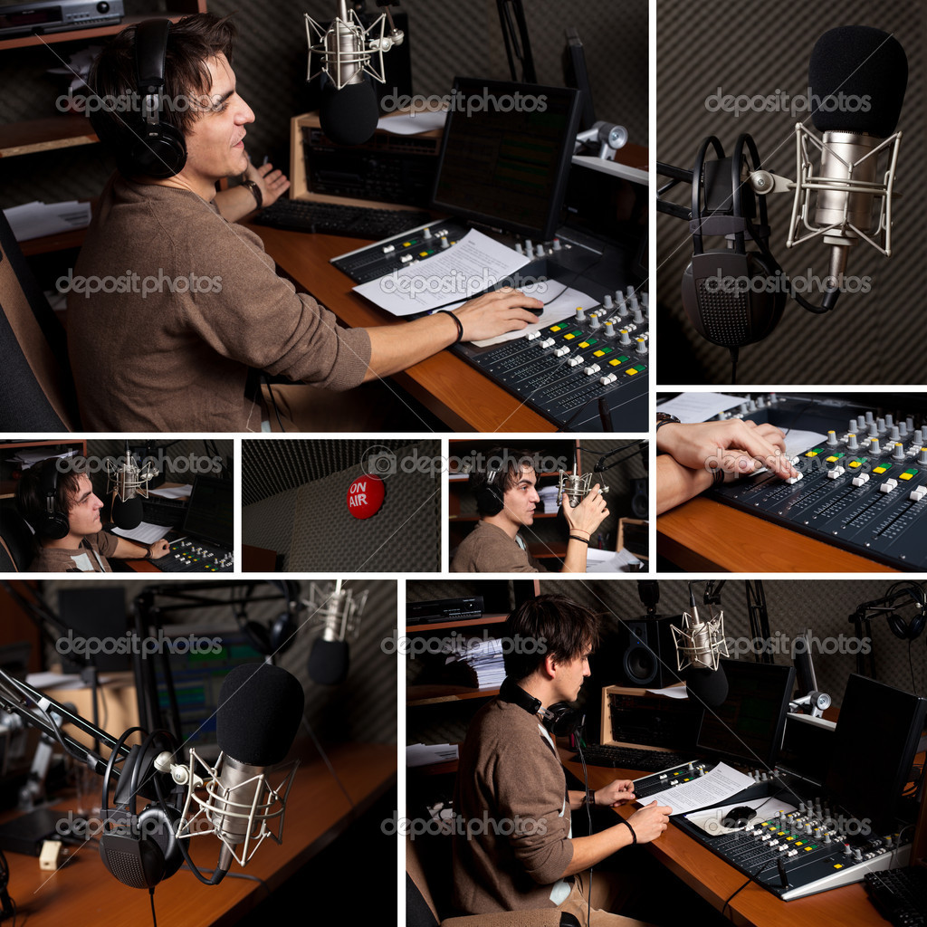 Collection of radio dj man indoor at radio studio  — Stock Photo #7227359