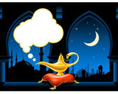 Magic lamp and arabic city skyline — Stock Vector