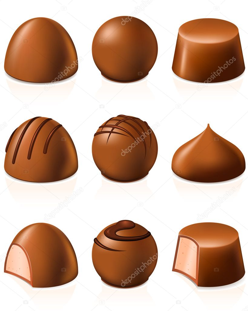 Set of chocolate candies of different shape — Stock Vector #7284933