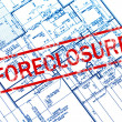 Foreclosure stamp on house blueprint — Stock Photo #7543881