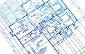 House plan blueprints — Stockfoto