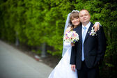 Portrait of a newlywed couple — Stock Photo