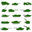 Vector Tanks, artillery and vehicles from second world war stic — Stock Photo