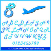 Aerobatics in an airplane alphabet letters and numbers — Stock Photo