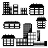 Different kind of houses and buildings - Vector Illustration — Stock Photo