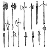 Weapon collection, medieval weapons — Stock Photo