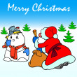 Stock Photo: Santa Claus and Snowman