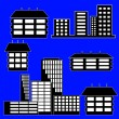 Different kind of houses and buildings - Vector Illustration - Stock Photo