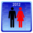 Woman and man in calendar — Stock Photo