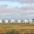 White tanks in tank farm with clouds in sky — Stock Photo