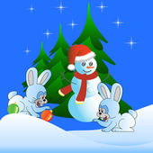 Two white hare and the Snowman — Stock Photo