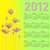 Stylish calendar with flowers for 2012. — Stock Photo