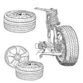 Race car shock absorber and wheel. — Stock fotografie