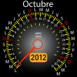 2012 year calendar speedometer car in Spanish. October — Stock Photo