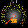 2012 year calendar speedometer car in Spanish. April — Stock Photo