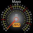 2012 year calendar speedometer car in Spanish. May — Stock Photo