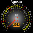 2012 year calendar speedometer car in Spanish. August — Stock Photo