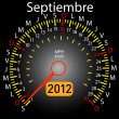 2012 year calendar speedometer car in Spanish. September — Stock Photo