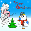 Santa Claus and snowman blows on — Stock Photo