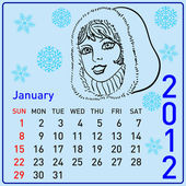 2012 year calendar beautiful girls — Stock Photo
