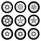 Automotive wheel with alloy wheels — Stock Photo