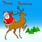 Santa claus rides on deer — Stock Photo