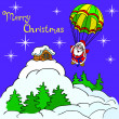 Cheerful Santa Claus goes down from the sky on a parachute. — Stock Photo #7320821