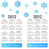 Stylish German calendar with snowflakes for 2012. — Stock Photo