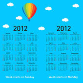Stylish French calendar with balloon and clouds for 2012. — Stock Photo