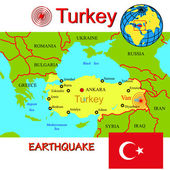 Turkey map with epicenter earthquake. — Fotografia Stock
