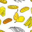 Big collection of hand drawn food — Stock Photo