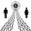 Illustration of male and female sex symbols tend toward the goal — Foto Stock