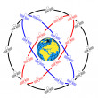 Foto Stock: Space satellites in eccentric orbits around Earth.