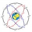 Stockfoto: Space satellites in eccentric orbits around Earth.
