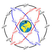 Space satellites in eccentric orbits around the Earth. — Stock Photo