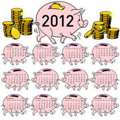 Stylish calendar Pig piggy bank for 2012. — Stock Photo
