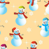 Seamless wallpaper from snowman and snowflakes — Stock Photo