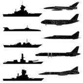 A set of military aircraft, ships and submarines. — Stock Photo
