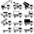 Stock Photo: Set of vector icons - transportation symbols. Black on white. Ca