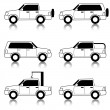 Set of vector icons - transportation symbols. Black on white. Ca — Stock Photo #7956824