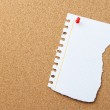 Blank torn note at the corkboard with copy space — Stock Photo